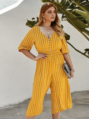Summer Striped Deep V-Neck Buttons Half Puff Sleeve Loose Yellow Jumpsuits XL-4XL