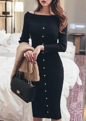Off Shoulder Black Color Knit Midi Dress