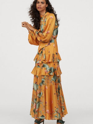 Ruffle Bow Tie Bohemian Long Sleeve Trumpet Floral Print Dresses