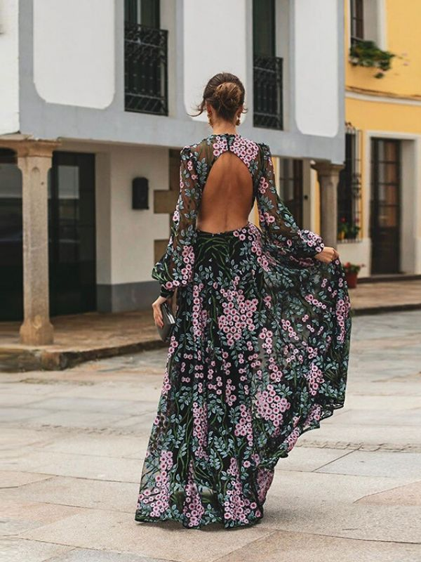 Backless Sexy Printing Color Long Sleeve Maxi Dress