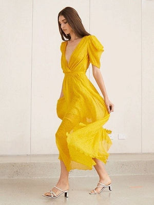 Lemon Yellow V-neck Puff Sleeve Tie Chiffon Maxi Dress