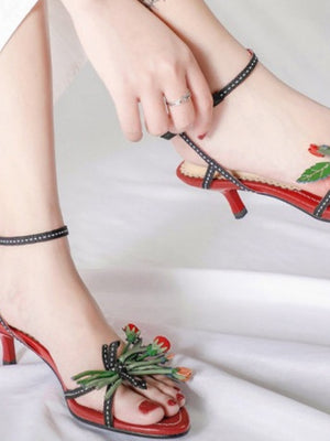 Flower Stiletto Shoes-Red