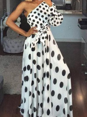 One Shoulder Dots Print Belted Maxi Dress