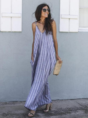 Bohemia Spaghetti-neck Backless Deep V-neck Maxi Dress