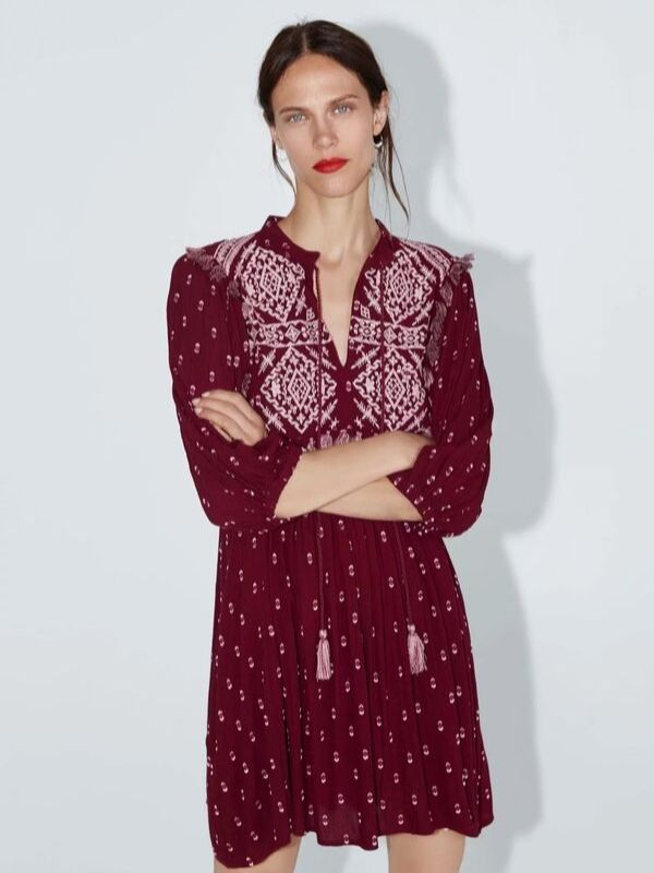 Print Embroidered Long Sleeves Tassel Lace Up Casual Boho Dresses