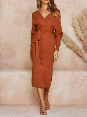 Robe Knitting Cotton With Sashes Batwing Sleeve Split Dress