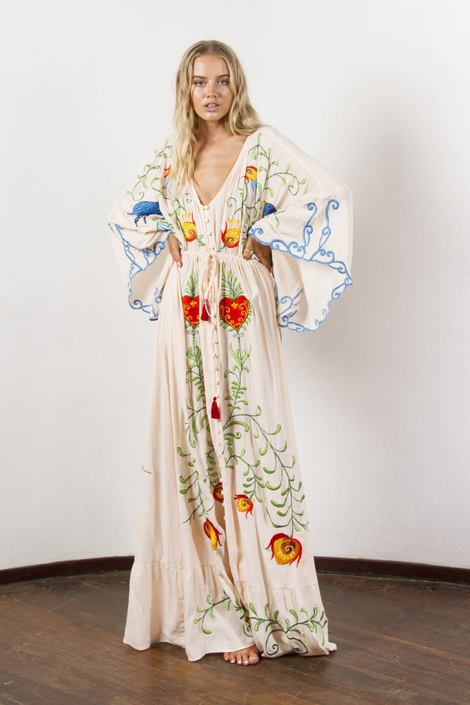 Bohemian Heavy Embroidery Tassel V-neck Retro Long Maxi Dress