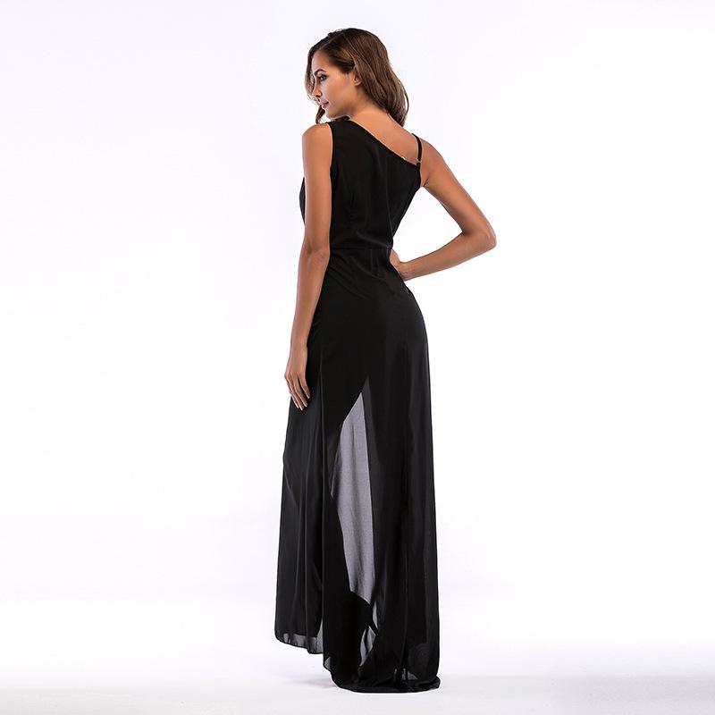 Black Plunge Tie Waist Thigh Split Side Maxi Dress