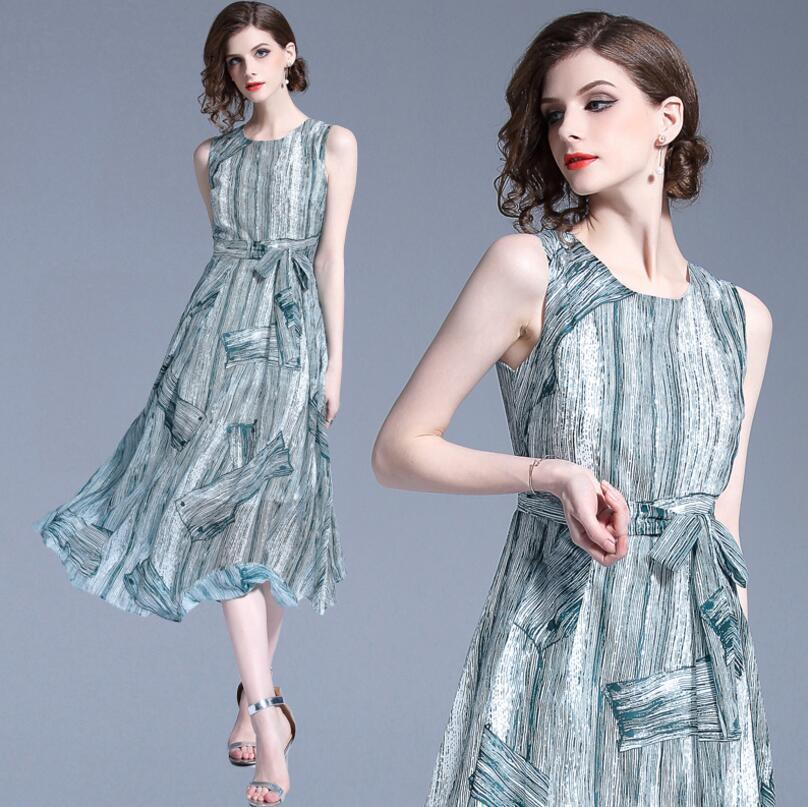 Chiffon Silk Sleeveless Printed Vestidos Boho Dress