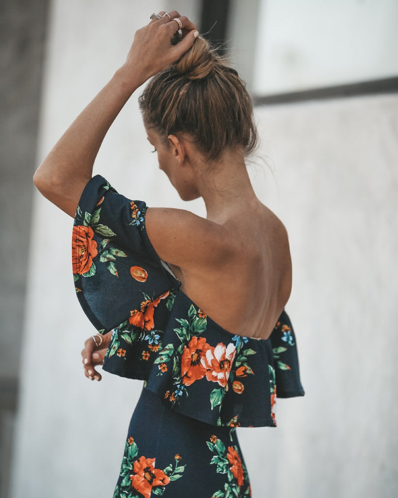Sexy Off Shoulder Floral Print Bodycon Midi Dress