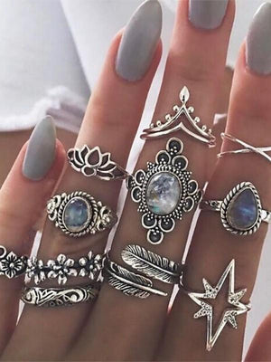 Vintage Diamond Carved Star Gemstone 11 Piece Set Boho Rings