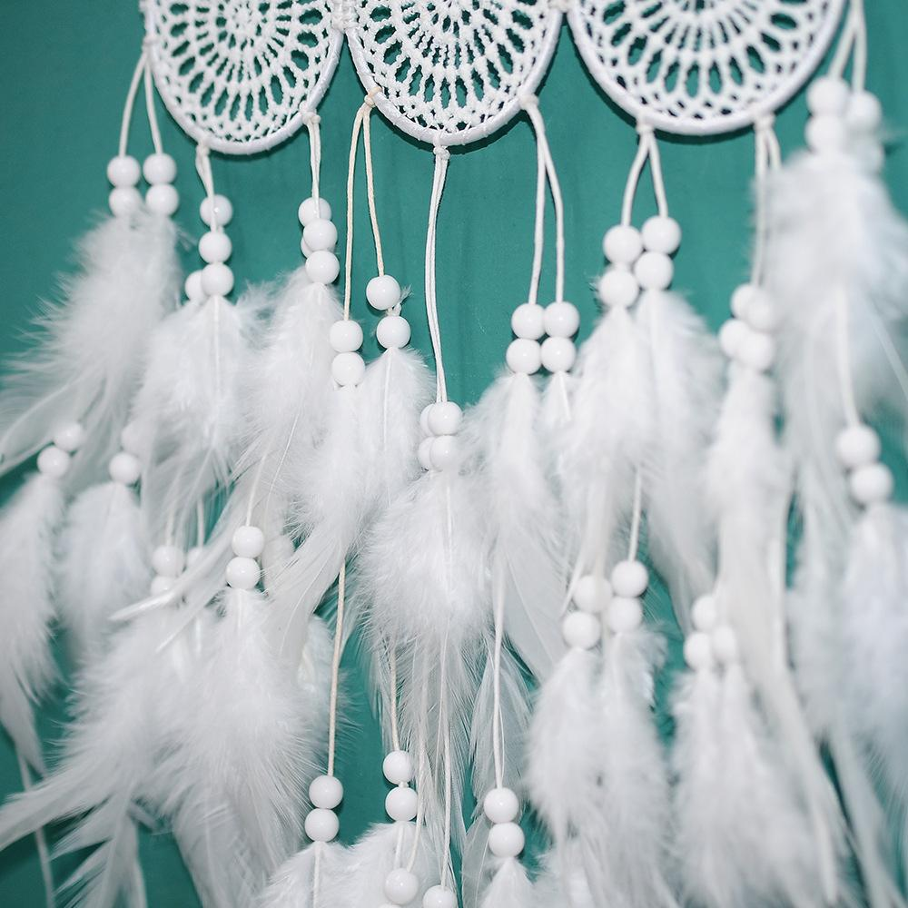 Dream Catcher Handmade White Feathers Wall Car Hanging Decor