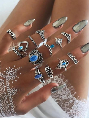 Vintage Diamond Carved Crown Starry Gem 13 Piece Ring