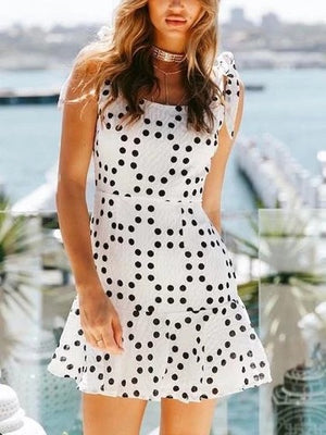 White Scoop Neck Polka Dot Open Back Ruffle Hem Boho Mini Dresses