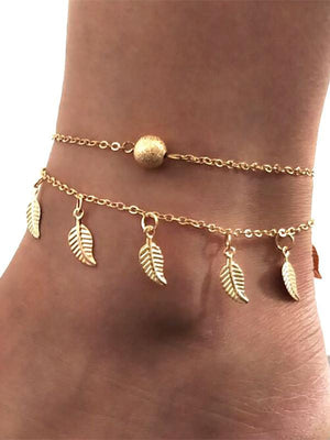 Beach Leaf Double Tassel Foot Chain