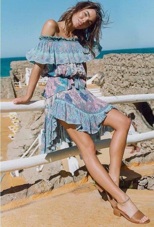 Fashion print bohemian holiday off shoulder dress