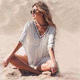 Embroidered V-neck beach bat sleeve sunscreen holiday blouse Mini Dress
