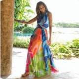 Bohemian fashion halter sleeveless color long dress