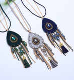 Bohemian fringed sweater chain ladies long necklace jewelry accessories