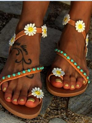 Summer Holiday boho Flower Flat Sandals