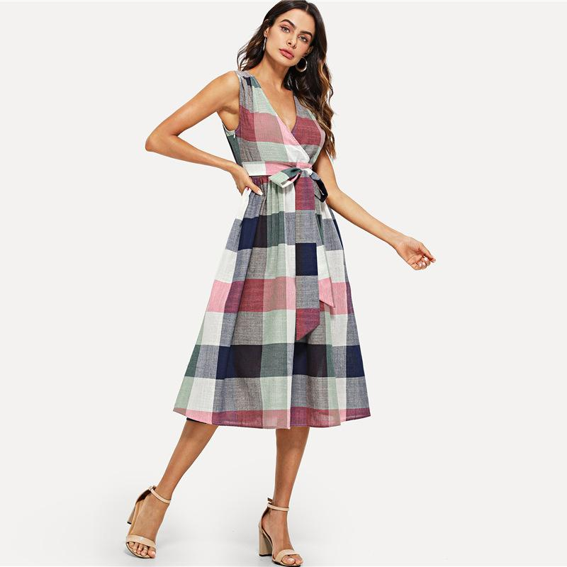 Bohemian Woman V-neck Wrap Front Belted Plaid MidiDress