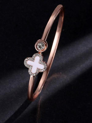 Temperament Rose Gold Clover Bracelet