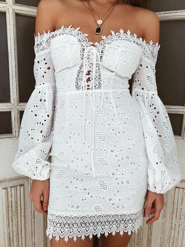Cotton Embroidered One-Shoulder Long Sleeve Mini Dress