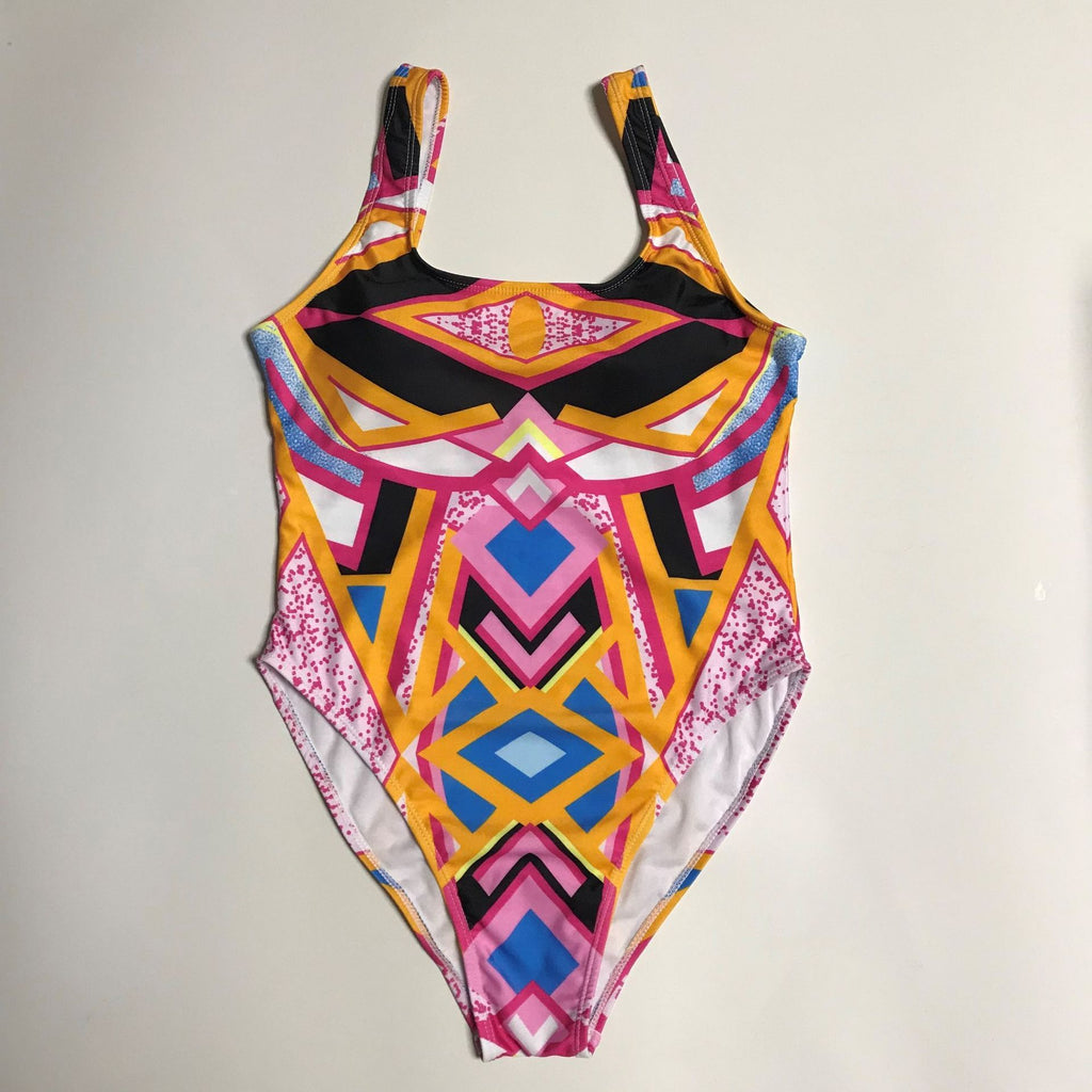 Print Low Cut Padded One Piece Swimwear XL-4XL
