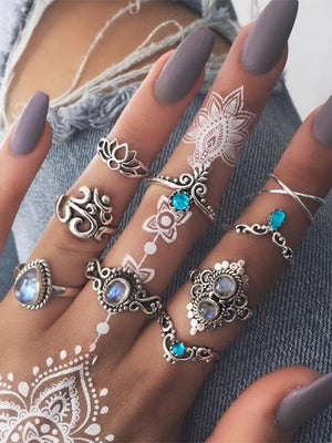 Vintage Ethnic Cross Lotus Sets of 9 Pieces Boho Rings
