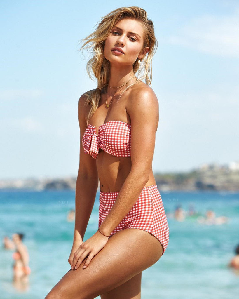 Red Check Front Tie Bow High Waist Bikini Set