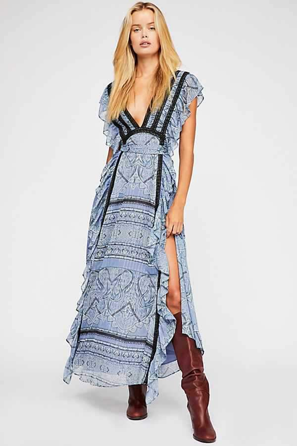Bohostyle V-neck Backless Holiday Boho Maxi Dresses