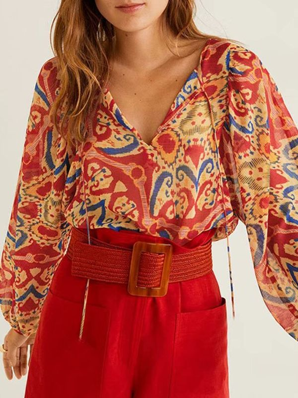 Vintage Print Floral Female Lace-Up Loose V-Neck Blouse