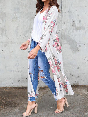 Long Sleeves Chiffon Fashion Floral Printed Kimono