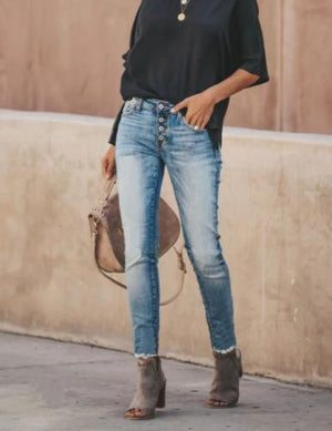 Classic High Waist Denim Boho Jeans