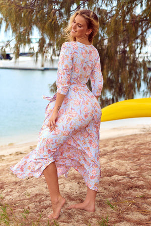Printed Tie V-neck Boho Long Dress