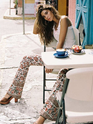 High waist evening primrose printed trousers