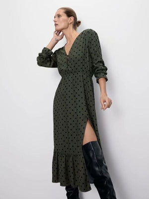 Green Wave Point V-neck Side Split Waist Midi Dress