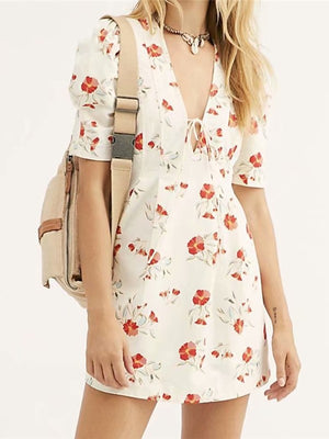 White Vintage short Sleeve V Neck Bandage Red Floral Print Mini Dress