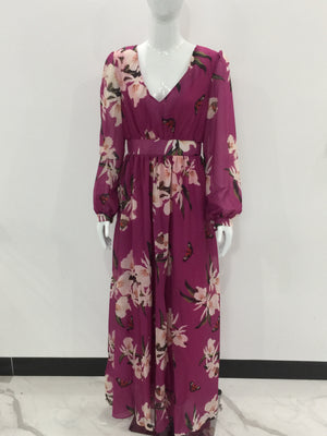 Floral Printed V Neck Bohemian Long Sleeve Maxi Dresses