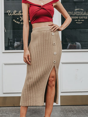 Sexy Side Split Button Knitted Elegant Pleated Midi Skirt
