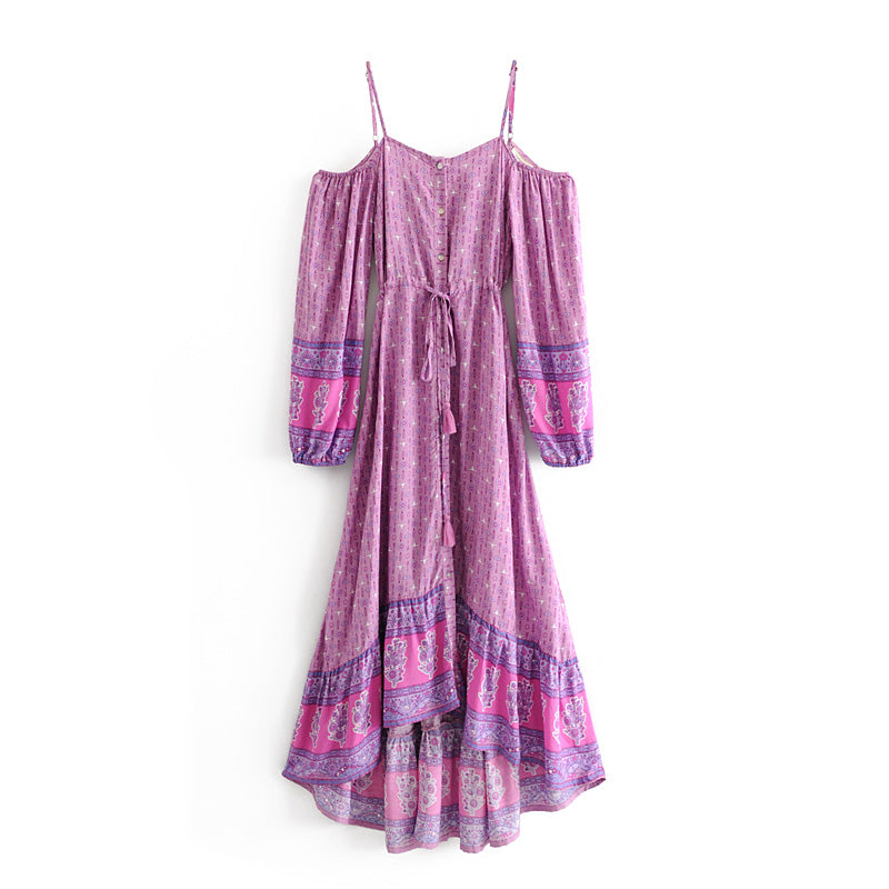 Boho Floral Print Long Asymmetric Purple Midi Dress
