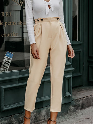 Solid Casual Harem High Waist Loose Ankle-length Pants