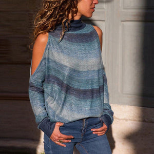 High Neck Strapless Long Sleeve Printed Knit Sweater