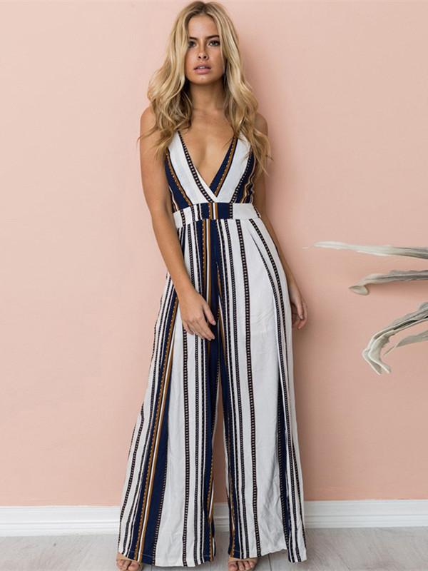 Deep V Neck Sleeveless Striped Sexy Floral Vintage Jumpsuit