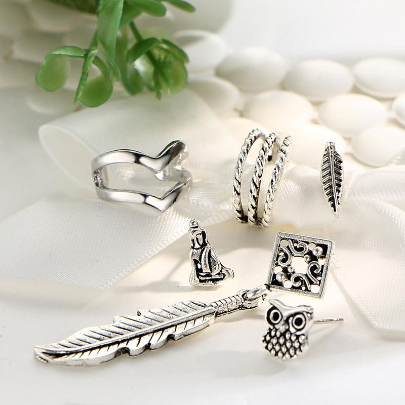 6 PCS Boho Earrings Set Leaves Earrings For Women