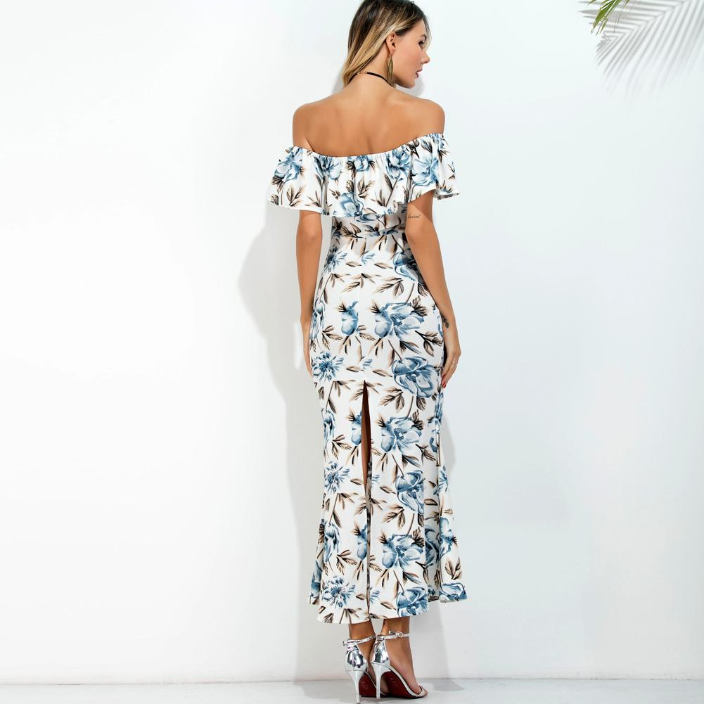 Bohemian Printed Off Shoulder flare sleeve Slash Neck Beach Dress