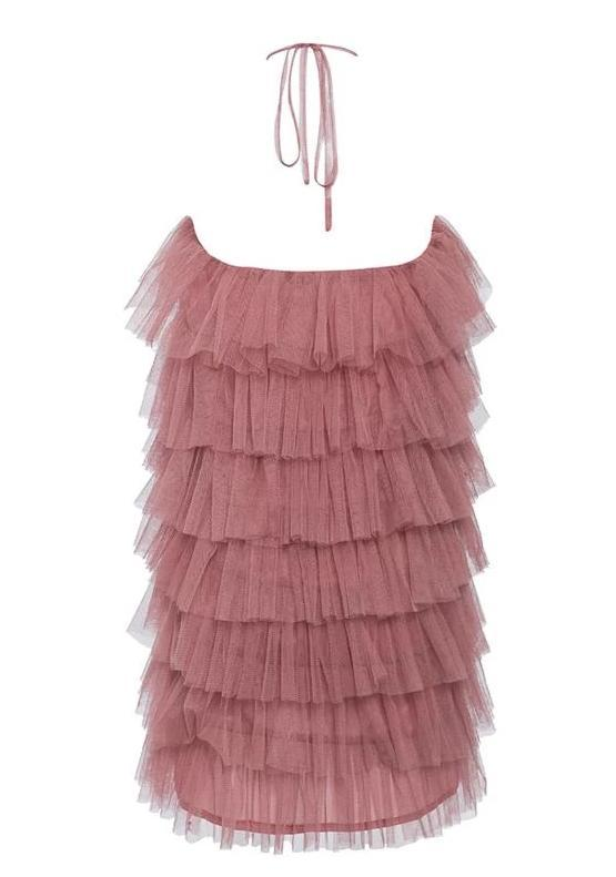 Sexy Mesh Halter Sleeveless Cake Ruffle Mini Dress