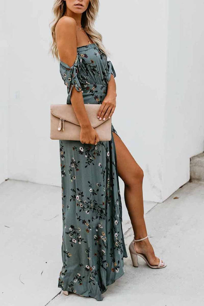 Printed Wrapped Slim Fit Floral Midi  Dress