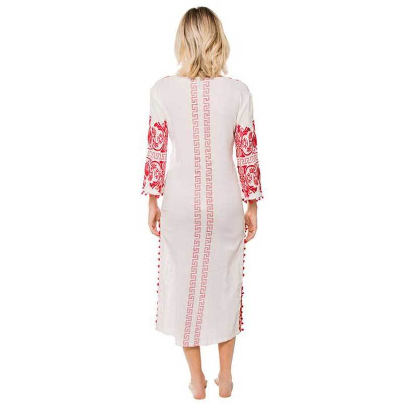 Embroidery Bohemian Beach Long Sleeve Maxi Dress