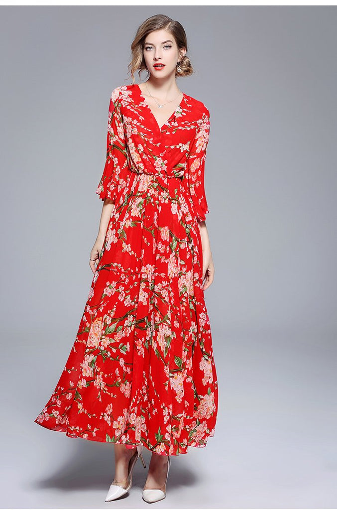 Chiffon Vestidos Boho Beach Floral Maxi Dress